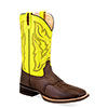 Old West Men's Broad Square Toe Boots - Fluorescent Green