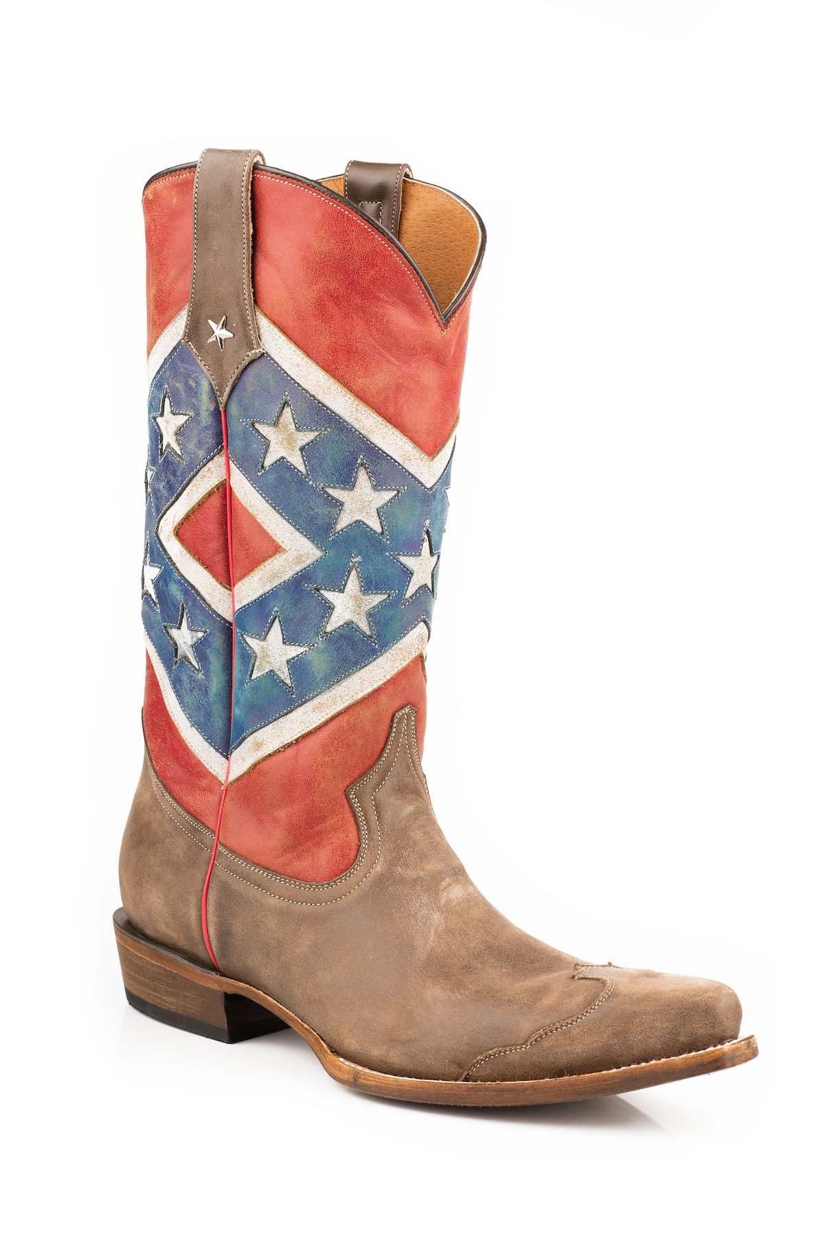 Pungo Ridge Roper Mens Distressed Rebel Flag Snip Toe