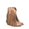 Roper Ladies Suede Fringe High Ankle Boots - Tan Burnished