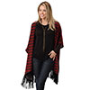 Roper Ladies Chevron Print Poncho - Red