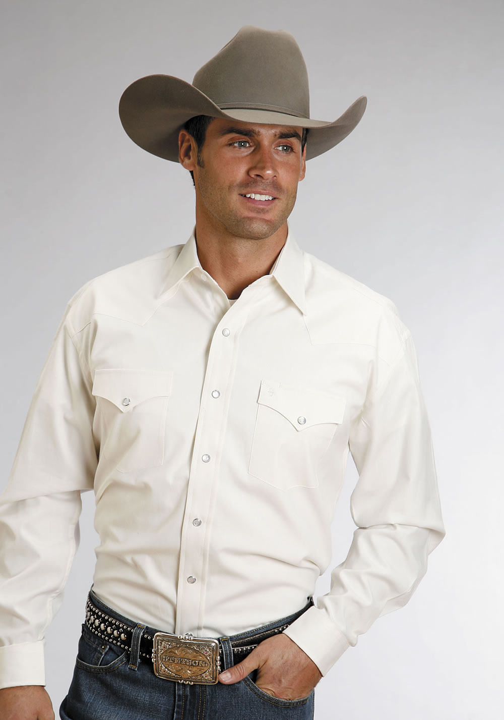 fda465111bf Stetson Men's Long Sleeve Solid Pearl Snap Western Shirt - Cream