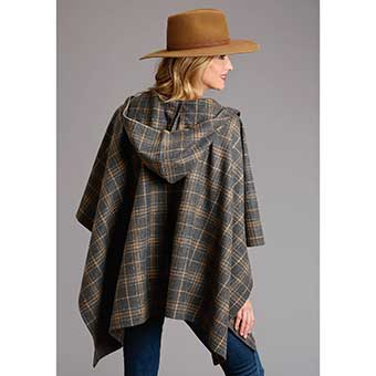 Stetson Women's Plaid Blanket Wrap Serape w/Hood - Grey/Tan