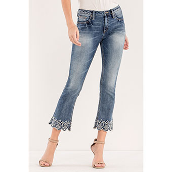 Miss Me Luxe Life Cropped Boot Cut Jeans w/Embroidery