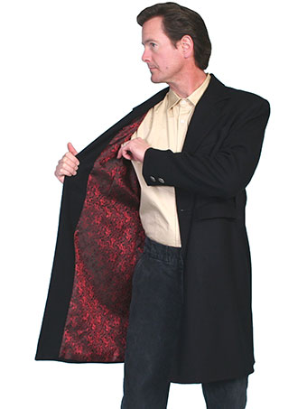 Men's WAH MAKER 100% Wool Frock Dragon Coat - Black