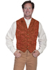 Men's WAH MAKER Single Breasted Tooled Silk Vest - Rust