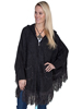 Scully Ladies Hooded Front Zip Poncho - Black