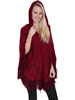 Scully Ladies Hooded Front Zip Poncho - Burgundy