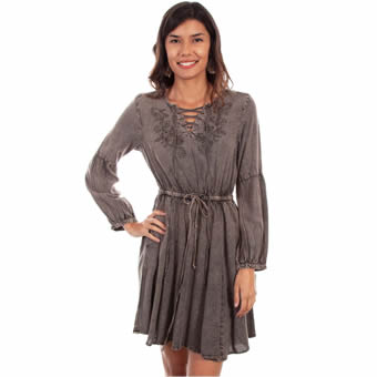Scully Honey Creek Hi/lo Acid Wash Dress - Tobacco