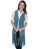 Scully Ladies Boar Suede Perforated Fringe Vest - Turquoise