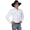 Scully Men's Solid Shirt w/Candy Cane Piping - White