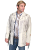 Scully Men's Leather Hand Laced Bead Trim Coat w/Fringe - Cream