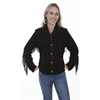 Scully Ladies Suede Fringe Jacket - Black