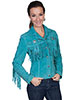 Scully Ladies Boar Suede Fringe & Beaded Jacket - Turquoise