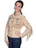 Scully Ladies Boar Suede Fringe & Beaded Jacket - Chamois