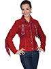Scully Ladies Boar Suede Fringe & Beaded Jacket - Red