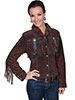 Scully Ladies Boar Suede Fringe & Beaded Jacket - Chocolate