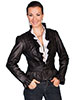 Scully Ladies Ruffle Trimmed Lamb Jacket - Black