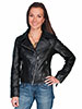 Scully Ladies Asymetric Leather Motorcycle Jacket - Black